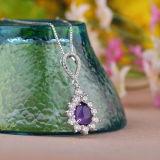 Collana Pendant Amethyst naturale dell'argento sterlina delle donne con la catena