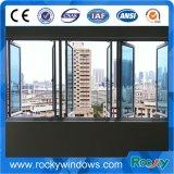 Guichet en aluminium en verre de tissu pour rideaux de trempe d'espace libre de qualité