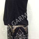 Повелительница Sequin лета черные шифоновые и платье женщин (DR-47)