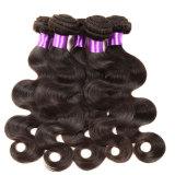 4 pacotes da onda malaia do corpo com cabelo malaio natural não processado do Virgin do cabelo humano do fechamento com fechamento