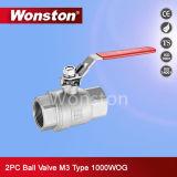 Válvula de esfera de duas partes do aço inoxidável com tipo do fechamento Pn64 M3