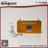 Mini amplificador de la señal del teléfono del oro WCDMA 2100MHz 3G de la talla del nuevo diseño con el LCD
