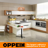2014 Oppein Новый современный кухонный шкаф с белым ПВХ дизайна