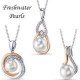 argento sterlina della perla 925 stabiliti dei monili di Dimond dell'oro 18k