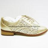 Zapatos inferiores fornidos del talón de la manera cómoda de las mujeres con el orificio de sacador