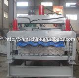 828-900 panneau de mur vitré de toit de tuile de double couche formant la machine