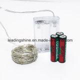 Luz de Natal 7 pés 20 luzes feericamente da corda de cobre morna do diodo emissor de luz do branco