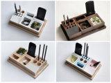 Organizador de madera sólido del escritorio de la insignia de encargo para la joyería del teléfono de la pluma