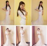 Способа Mermaid шнурка 2017 платье венчания половинного втулок длиннее Bridal