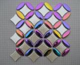 Telha de vidro da parede do mosaico do mosaico cerâmico do metal do aço inoxidável do ouro
