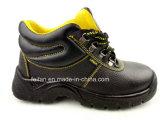 Sapatas de segurança do couro genuíno com dedo do pé e a placa de aço