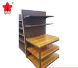Estantería de lujo de madera y de acero del supermercado de la góndola