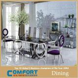 販売のための食堂の上のガラスStainessの現代鋼鉄ダイニングテーブル