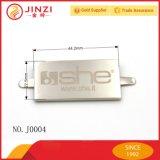 Boa etiqueta brilhante de lustro do metal com nome do laser