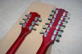 Guitare électrique rouge transparente des chaînes de caractères Strings+6 2-Neck de la musique 12 de Hanhai