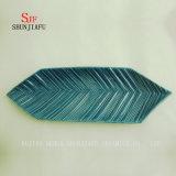 青海原は葉の陶磁器陶磁器のサービングの版ソース皿を並べる