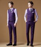 Púrpura juego largo de la funda de 3 del pedazo Mens del asunto