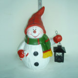 Het Beeldje van de Sneeuwman van Kerstmis van de hars met de Hanger van Sokken voor het Decor van de Tuin