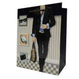 bolso de compras grande barato de encargo del papel del hombre del papel de arte 157g