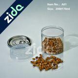 Vaso di plastica dell'alimento per animali domestici del grado della caramella vuota trasparente del cilindro con il coperchio di alluminio