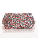 Floral Patterns PVC Canvas Green Handle Shoulder Bag (99189-3)
