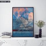 Peinture à l'huile abstraite bleue d'impression de toile
