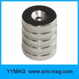 NdFeBのリングによってさら穴を開けられる磁石30X10 mmの穴6つのmmの磁石