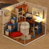 New Kid DIY House Cute Miniature brinquedo de madeira com móveis