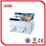 A frigideira dobro dos peixes da parte superior de tabela do tanque para a loja do petisco, lasca a boa qualidade da frigideira profunda elétrica