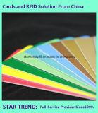 Scheda gialla di plastica in bianco di Cr80/30mil per le azione del rivenditore