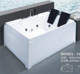 Baignoire carrée acrylique de massage de baquet chaud de tourbillon de Sanitaryware (517)