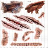 Tatuaje temporal impermeable herido puntada del arte de la etiqueta engomada del tatuaje del horror