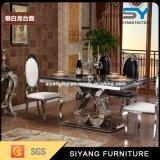 Tabela de jantar de mármore do aço inoxidável da mobília de Foshan com 6 cadeiras