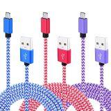 마이크로 케이블, 다채로운 나일론 땋는 고속 USB 2.0 마이크로 B 데이터 Sync에 남성 및 Samsung 은하 S7 가장자리, S6, HTC, Motoro를 위한 충전기 케이블