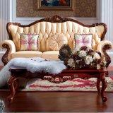 يعيش غرفة أثاث لازم مع جلد أريكة وخشب طاولة ([د508])