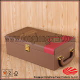 Estupenda de la calidad de imitación de cuero rojo vino de la caja con botellas dobles