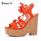 (Donna-em) sandálias com cordões da plataforma da cortiça das mulheres do salto elevado do estilo da forma