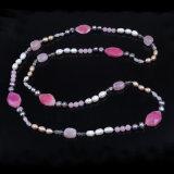 Heißer wulstiger Perlen-Mehrfarbenstein bördelt Halskette