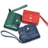 Carteira de couro feminino Genuine Crocodile Fashion Coin Purse