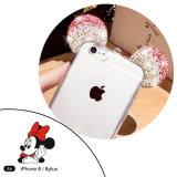 Cajas del teléfono celular de la caja de los oídos TPU de Mickey del diamante para el iPhone 6/6plus