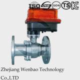 L'acier inoxydable 2PC pneumatique a bridé robinet à tournant sphérique de flottement avec 304L