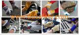 Van de Katoenen van de Streep van de Handschoenen van het Werk van het Leer van de Koe van Ddsafety 2017 de Gele Gespleten Handschoenen Veiligheid van de Boor Achter