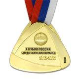 Medaglia antica su ordinazione di pallacanestro dell'oro con il nastro