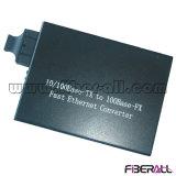 10 / 100m de fibra óptica convertidor de medios de fibra doble Sm 20 kilometros externa