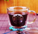Taza de café de cristal de la taza de café de Starbuck de la impresión doble de la pared