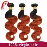 Kleurt het Maagdelijke Remy Haar van 100% Ombre T de Braziliaanse Golf van het Lichaam van de Uitbreidingen van het Haar