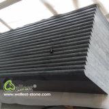 Escalier gris foncé du granit G654 avec la semelle et les canalisations verticales