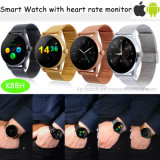 La alta calidad de la pantalla táctil reloj teléfono inteligente redonda con medidor de frecuencia cardiaca