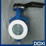 Teflon PTFE PFA FEP Lined Wafer Type Resilient Butterfly Valve for Corrosive Chemical Industry