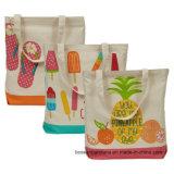 Sacchetto di Totes promozionale variopinto stampato marchio su ordine del mestiere di acquisto della tela di canapa del cotone